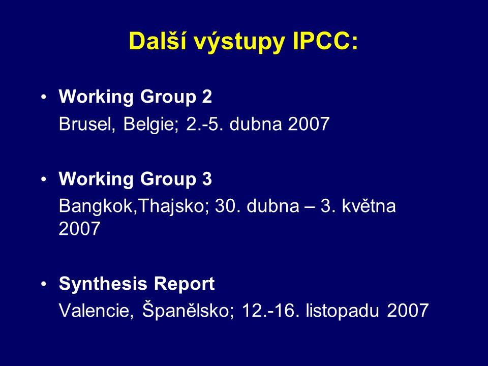 Další výstupy IPCC: Working Group 2 Brusel, Belgie; 2.-5. dubna 2007