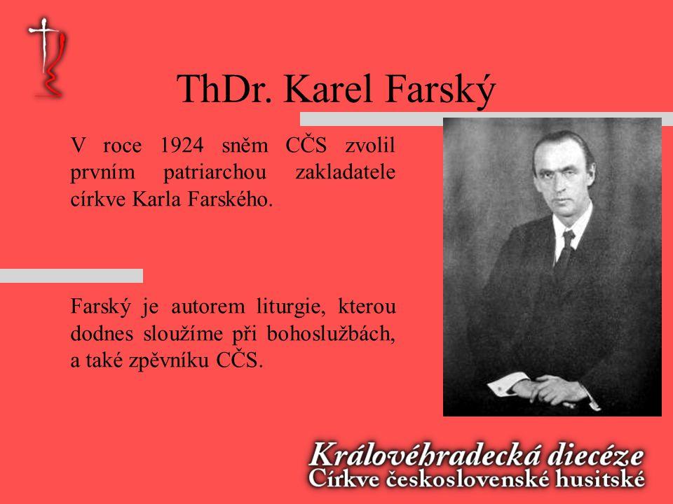 ThDr. Karel Farský V roce 1924 sněm CČS zvolil prvním patriarchou zakladatele církve Karla Farského.