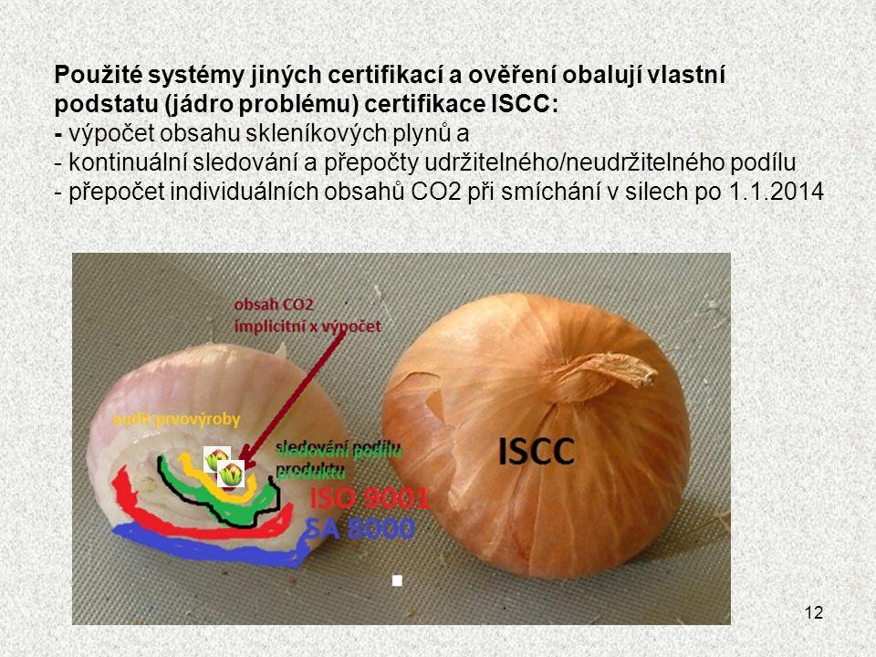 Použité systémy jiných certifikací a ověření obalují vlastní podstatu (jádro problému) certifikace ISCC: - výpočet obsahu skleníkových plynů a - kontinuální sledování a přepočty udržitelného/neudržitelného podílu - přepočet individuálních obsahů CO2 při smíchání v silech po 1.1.2014