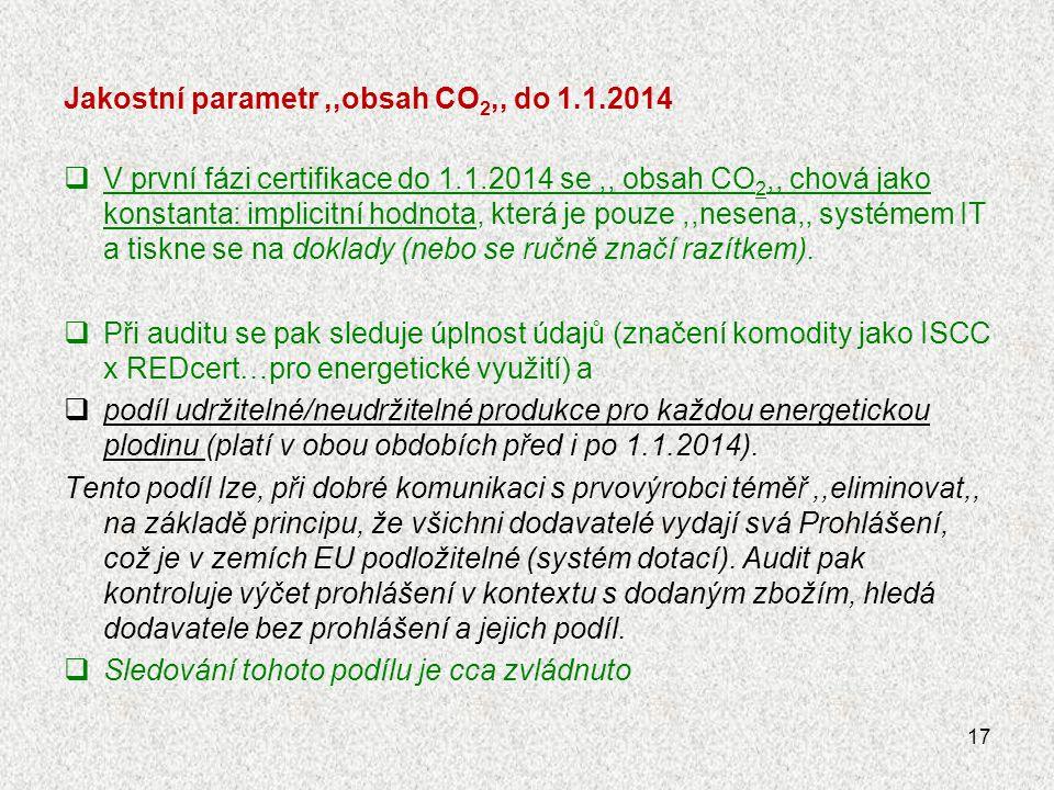 Jakostní parametr ,,obsah CO2,, do 1.1.2014