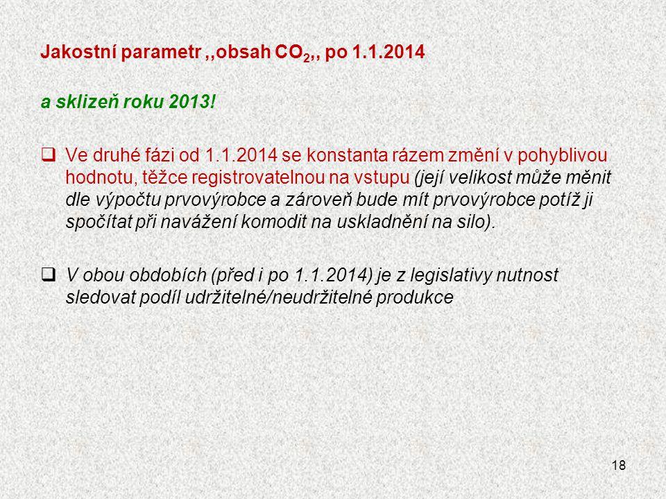 Jakostní parametr ,,obsah CO2,, po 1.1.2014