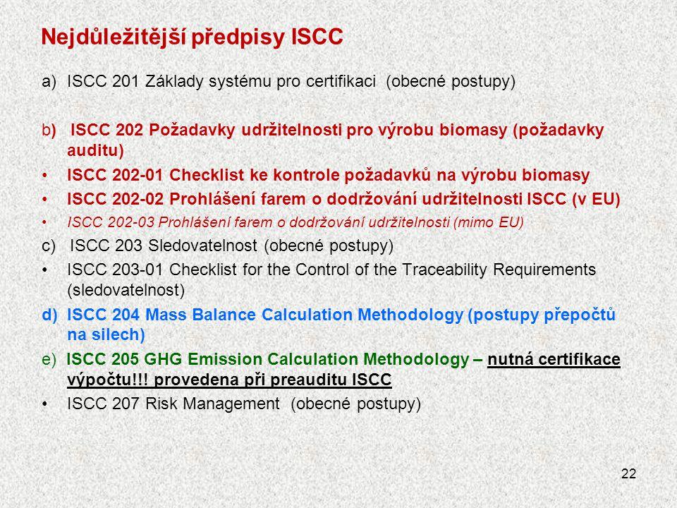 Nejdůležitější předpisy ISCC