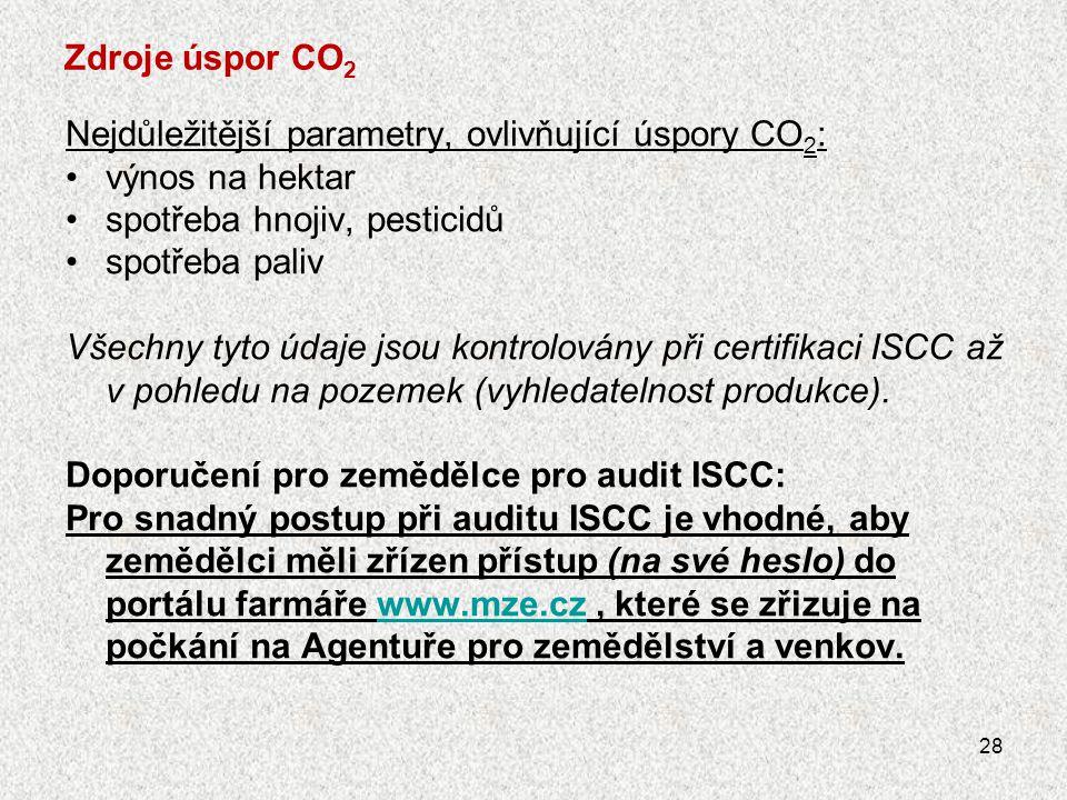 Zdroje úspor CO2 Nejdůležitější parametry, ovlivňující úspory CO2: výnos na hektar. spotřeba hnojiv, pesticidů.