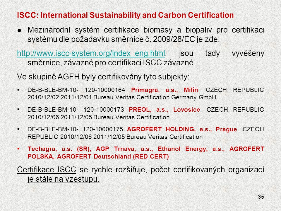 ISCC: International Sustainability and Carbon Certification