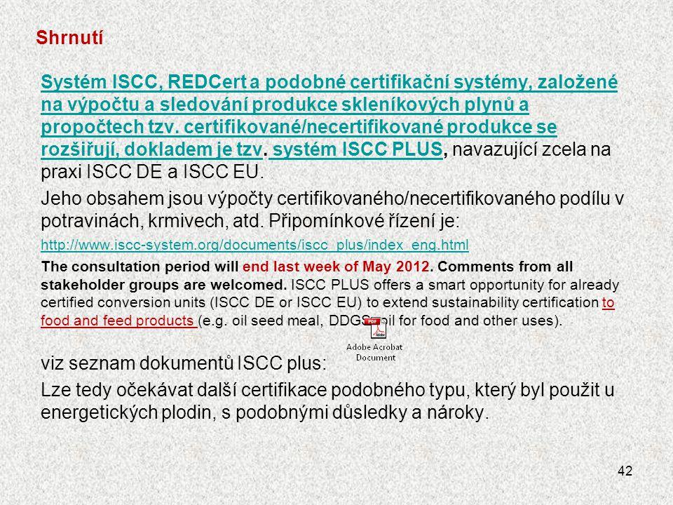 viz seznam dokumentů ISCC plus: