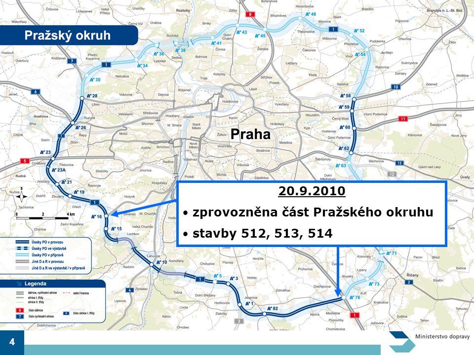 zprovozněna část Pražského okruhu stavby 512, 513, 514