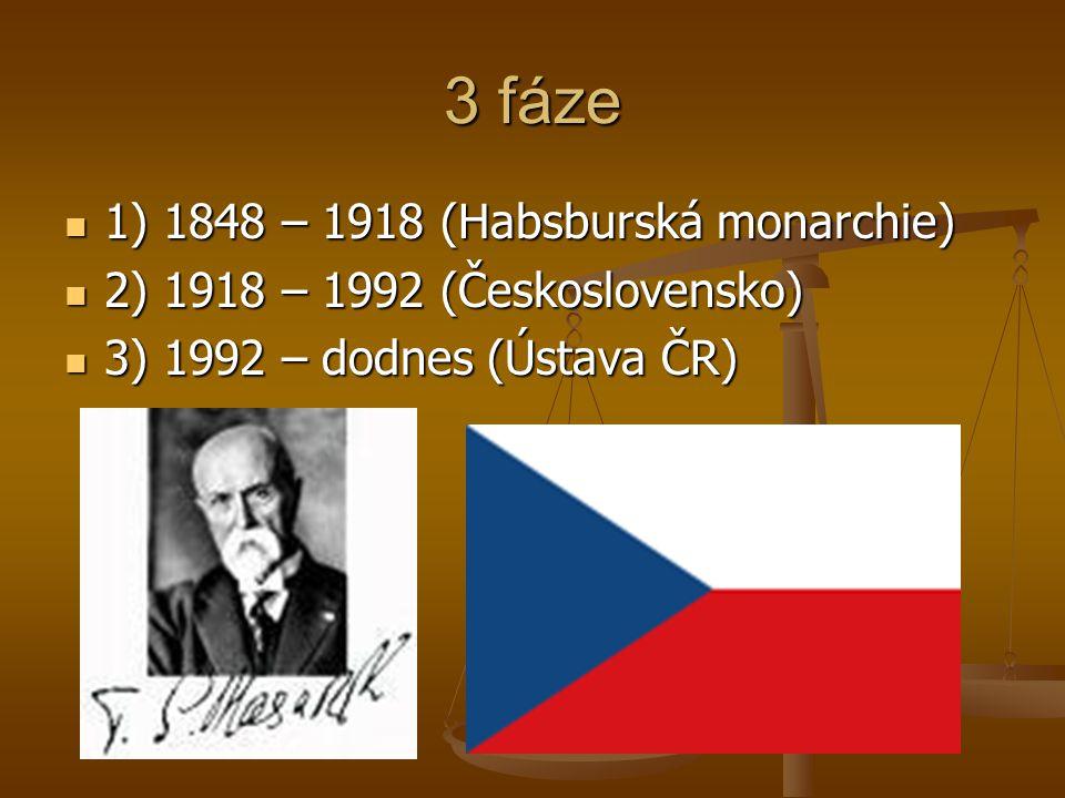 3 fáze 1) 1848 – 1918 (Habsburská monarchie)