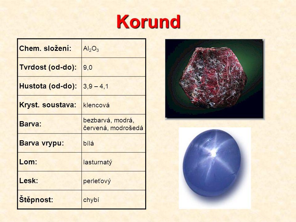 Korund Chem. složení: Tvrdost (od-do): Hustota (od-do):