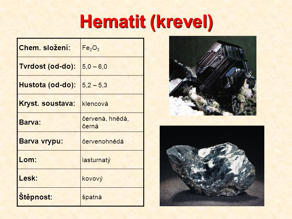 Hematit (krevel) Chem. složení: Tvrdost (od-do): Hustota (od-do):