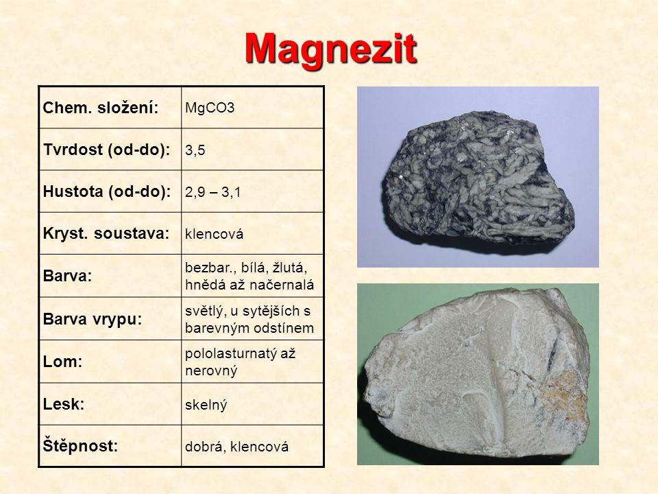 Magnezit Chem. složení: Tvrdost (od-do): Hustota (od-do):
