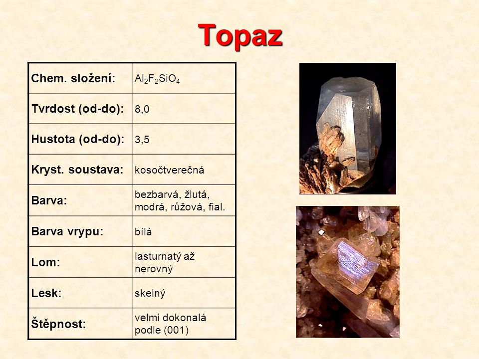 Topaz Chem. složení: Tvrdost (od-do): Hustota (od-do):