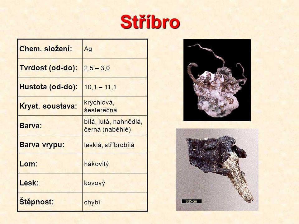 Stříbro Chem. složení: Tvrdost (od-do): Hustota (od-do):