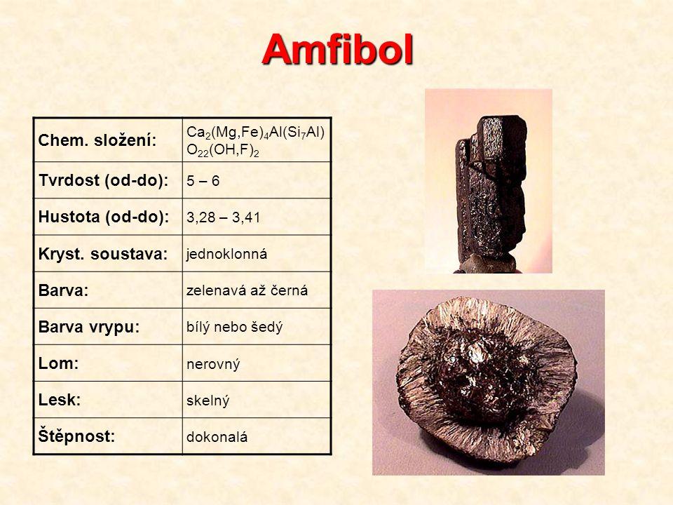 Amfibol Chem. složení: Tvrdost (od-do): Hustota (od-do):