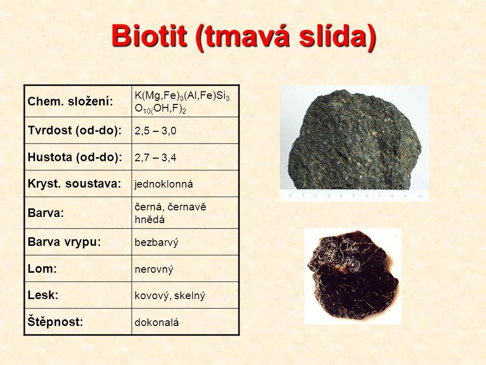 Biotit (tmavá slída) Chem. složení: Tvrdost (od-do): Hustota (od-do):