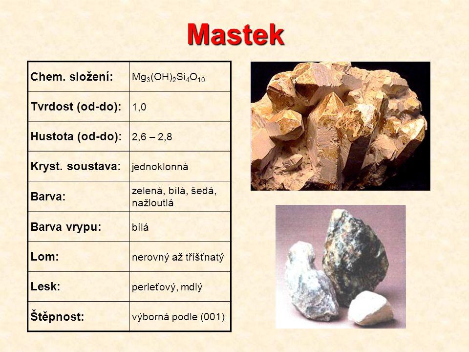 Mastek Chem. složení: Tvrdost (od-do): Hustota (od-do):