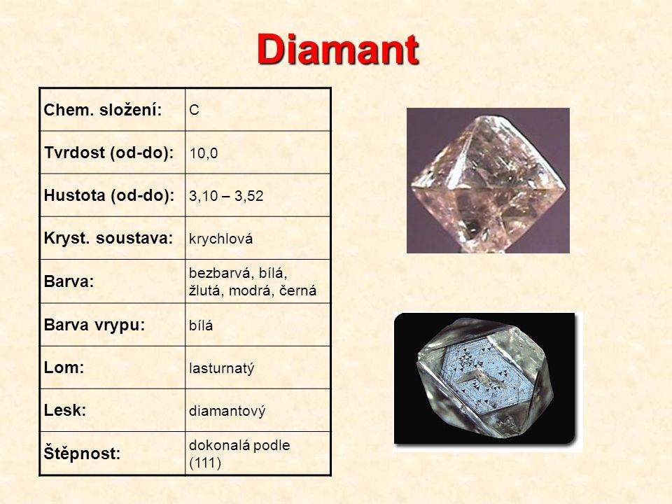 Diamant Chem. složení: Tvrdost (od-do): Hustota (od-do):