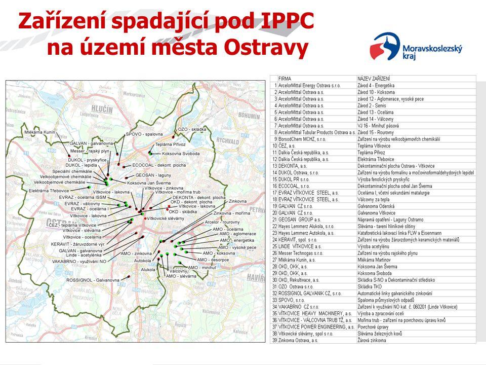 Zařízení spadající pod IPPC na území města Ostravy