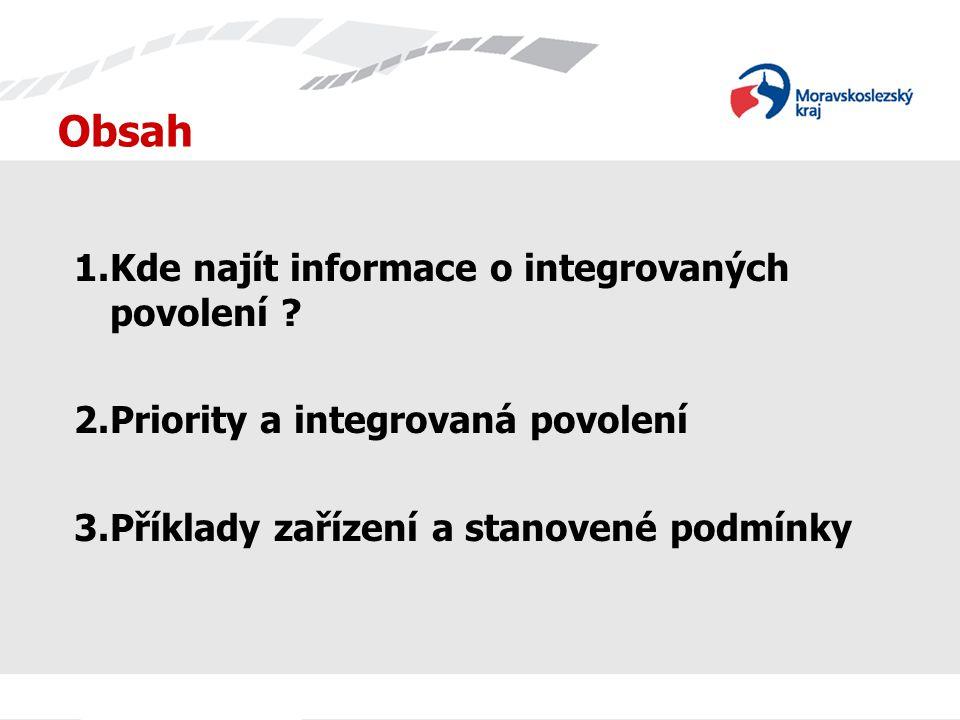 Obsah Kde najít informace o integrovaných povolení