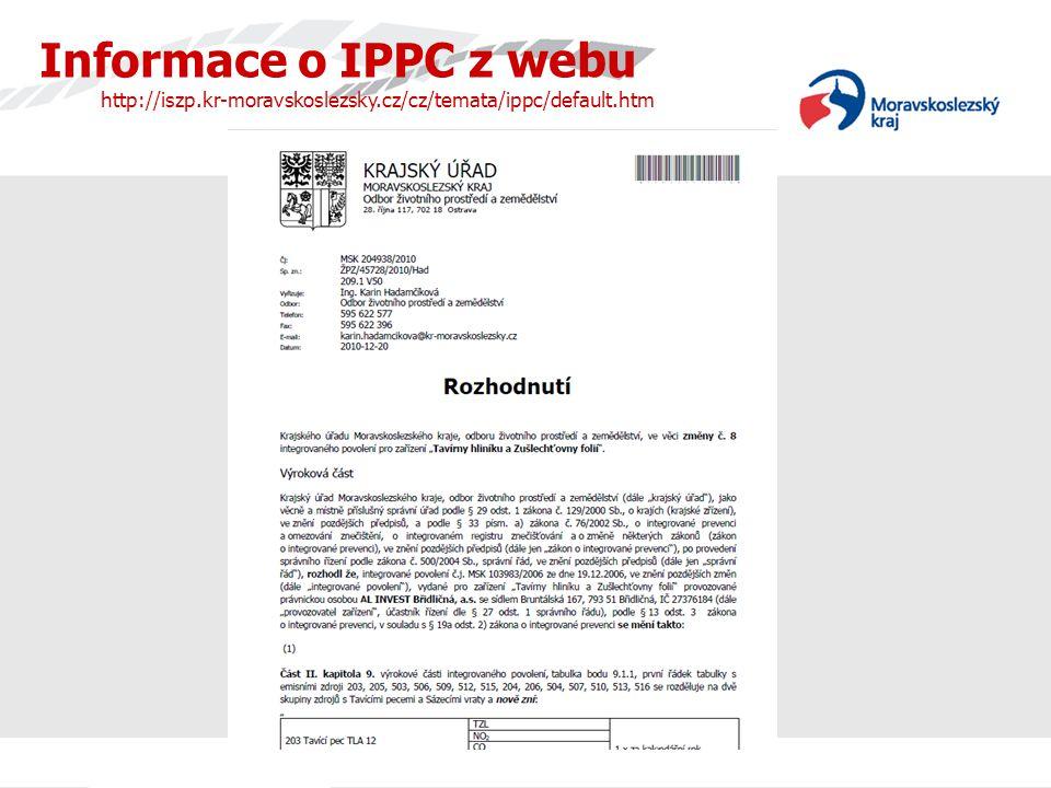 Informace o IPPC z webu http://iszp. kr-moravskoslezsky