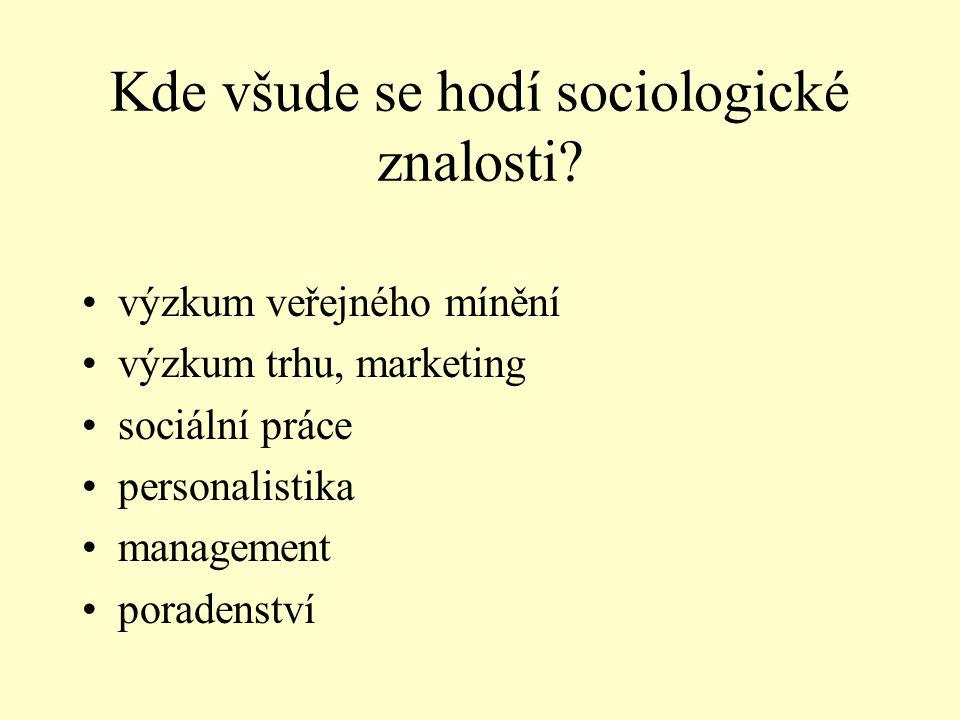 Kde všude se hodí sociologické znalosti