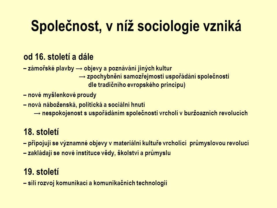 Společnost, v níž sociologie vzniká