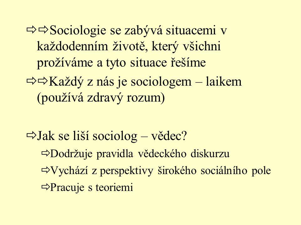 Každý z nás je sociologem – laikem (používá zdravý rozum)
