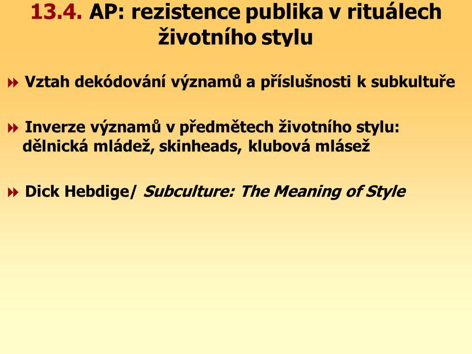 13.4. AP: rezistence publika v rituálech životního stylu