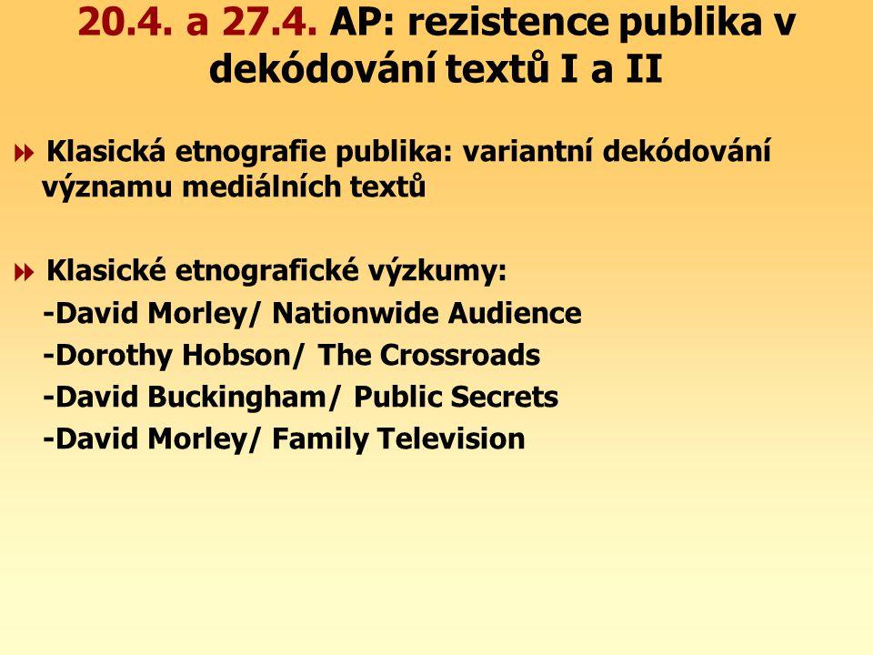 20.4. a 27.4. AP: rezistence publika v dekódování textů I a II