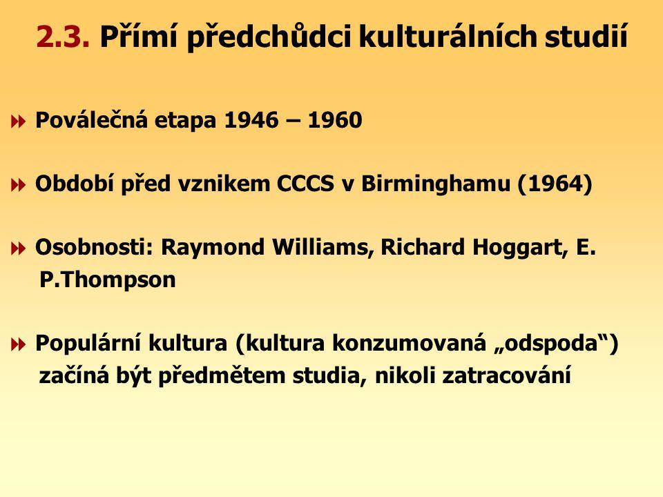 2.3. Přímí předchůdci kulturálních studií