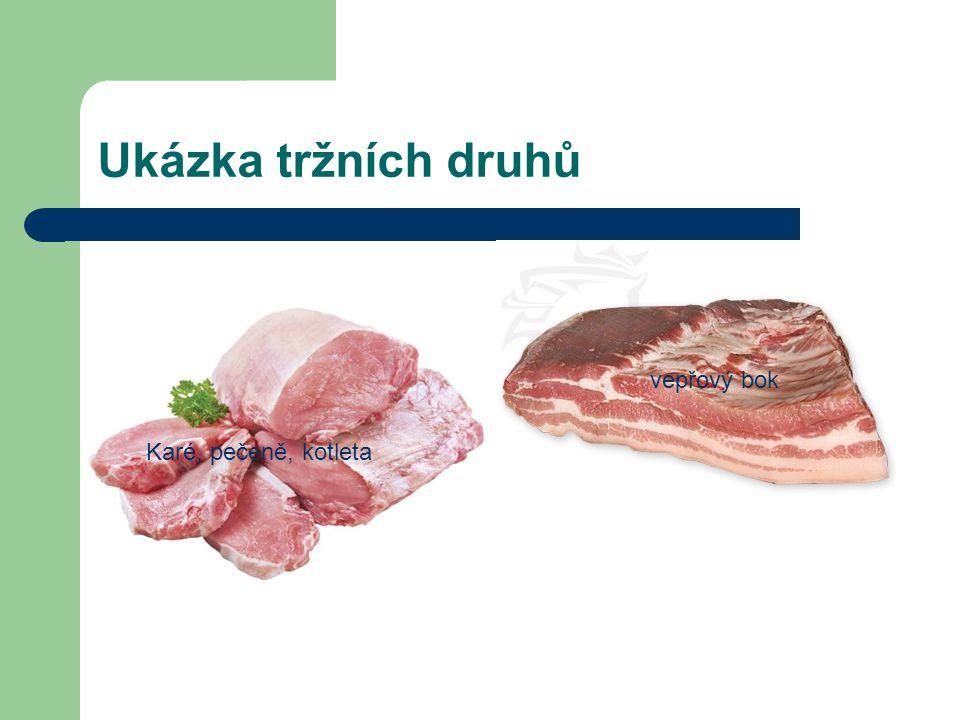 Ukázka tržních druhů vepřový bok Karé, pečeně, kotleta