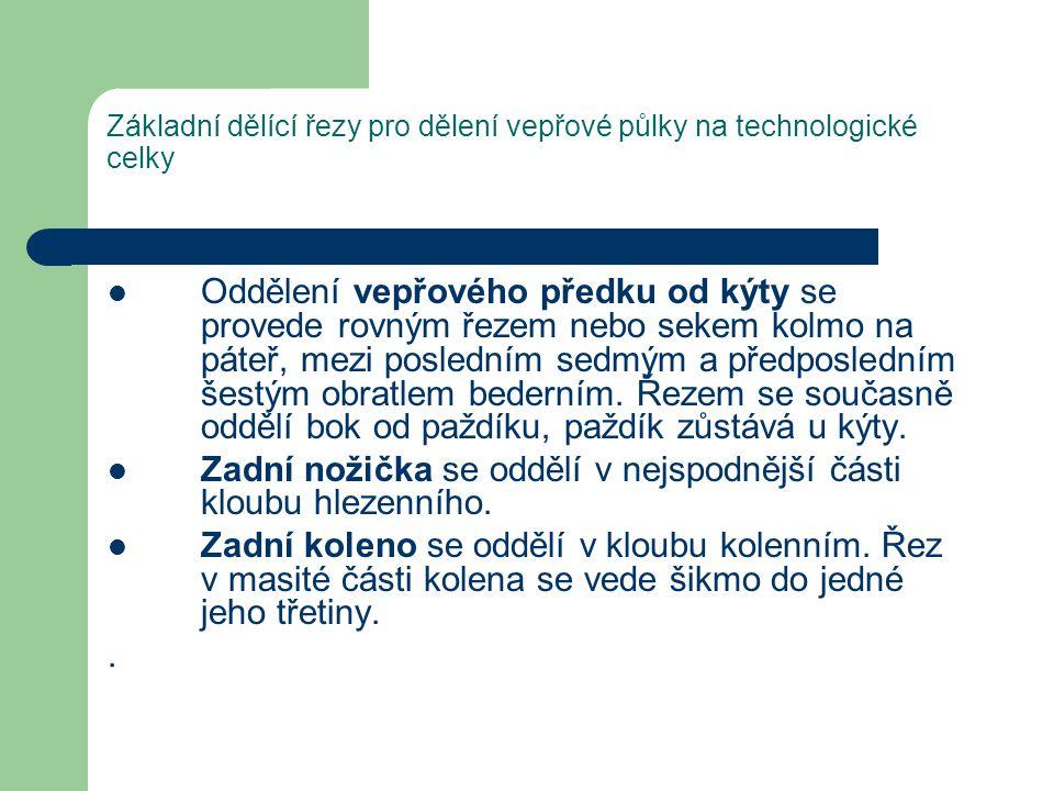 Základní dělící řezy pro dělení vepřové půlky na technologické celky