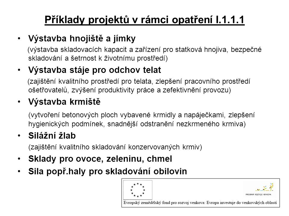 Příklady projektů v rámci opatření I.1.1.1
