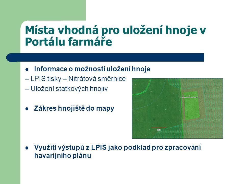 Místa vhodná pro uložení hnoje v Portálu farmáře