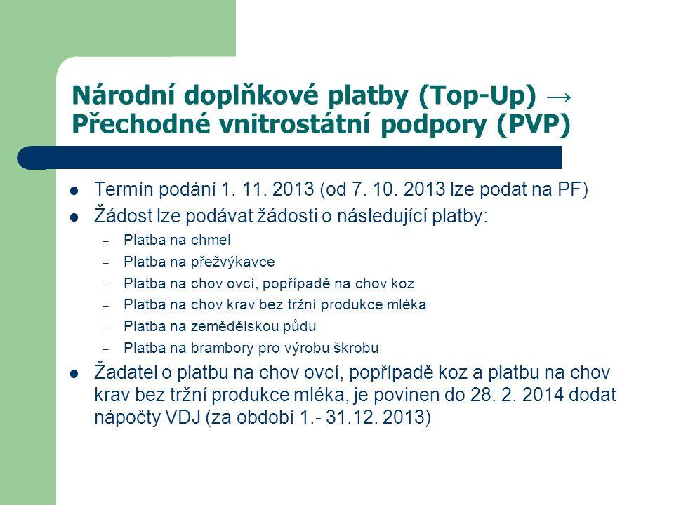 Národní doplňkové platby (Top-Up) → Přechodné vnitrostátní podpory (PVP)