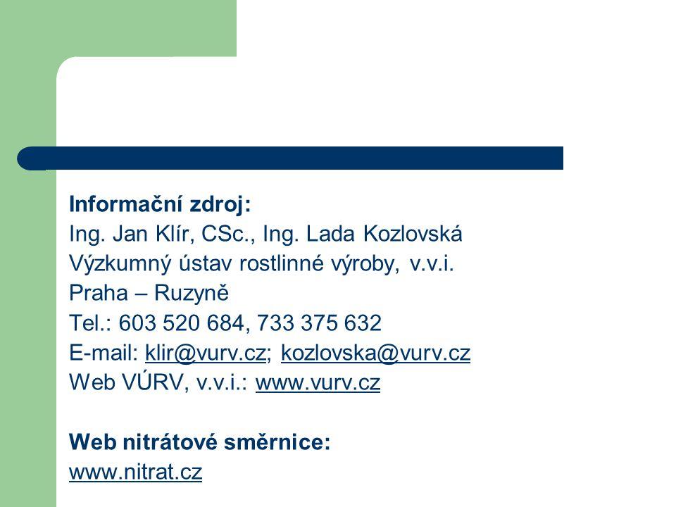 Ing. Jan Klír, CSc., Ing. Lada Kozlovská