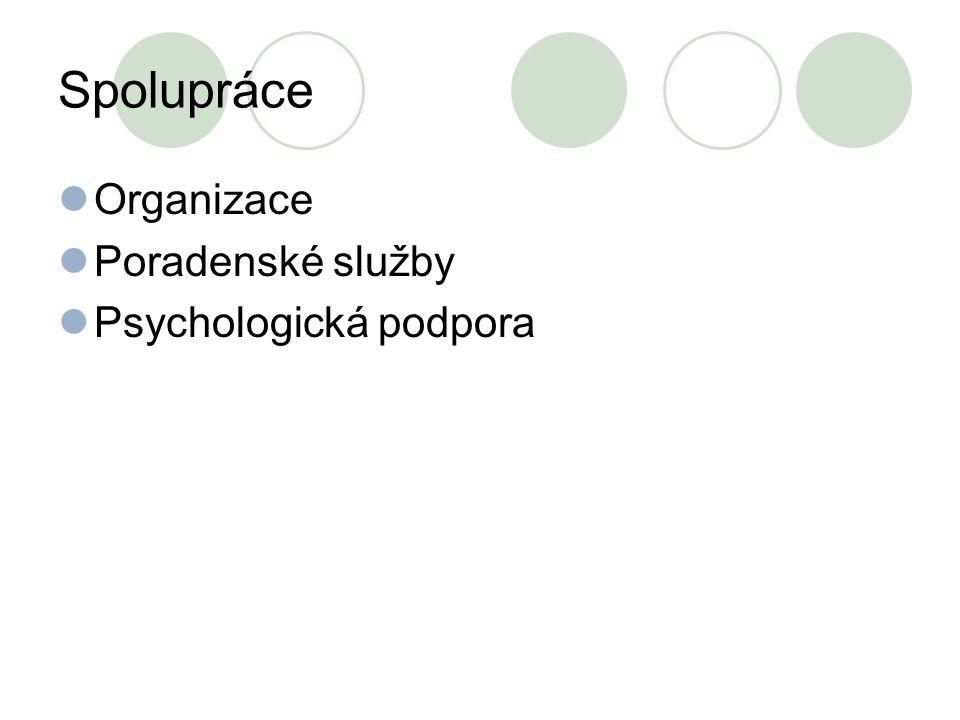 Spolupráce Organizace Poradenské služby Psychologická podpora