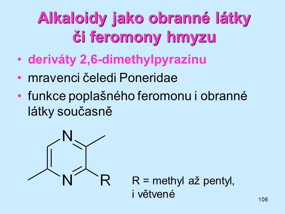 Alkaloidy jako obranné látky či feromony hmyzu