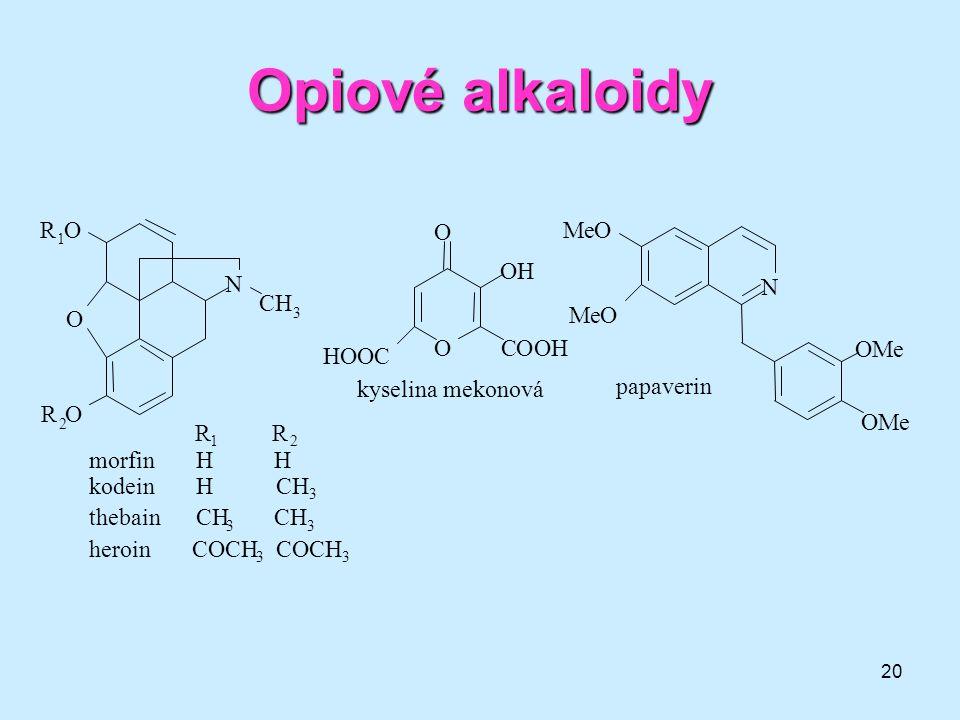 Opiové alkaloidy N R O C H M e morfin H H kodein H CH3 thebain CH CH