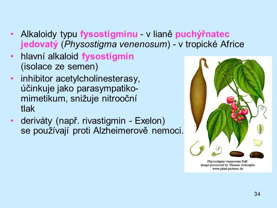 hlavní alkaloid fysostigmin (isolace ze semen)