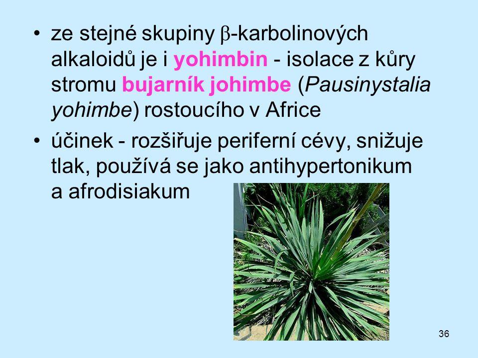 ze stejné skupiny β-karbolinových alkaloidů je i yohimbin - isolace z kůry stromu bujarník johimbe (Pausinystalia yohimbe) rostoucího v Africe