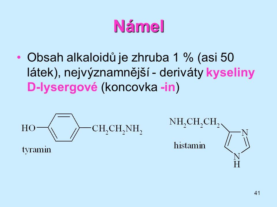 Námel Obsah alkaloidů je zhruba 1 % (asi 50 látek), nejvýznamnější - deriváty kyseliny D-lysergové (koncovka -in)
