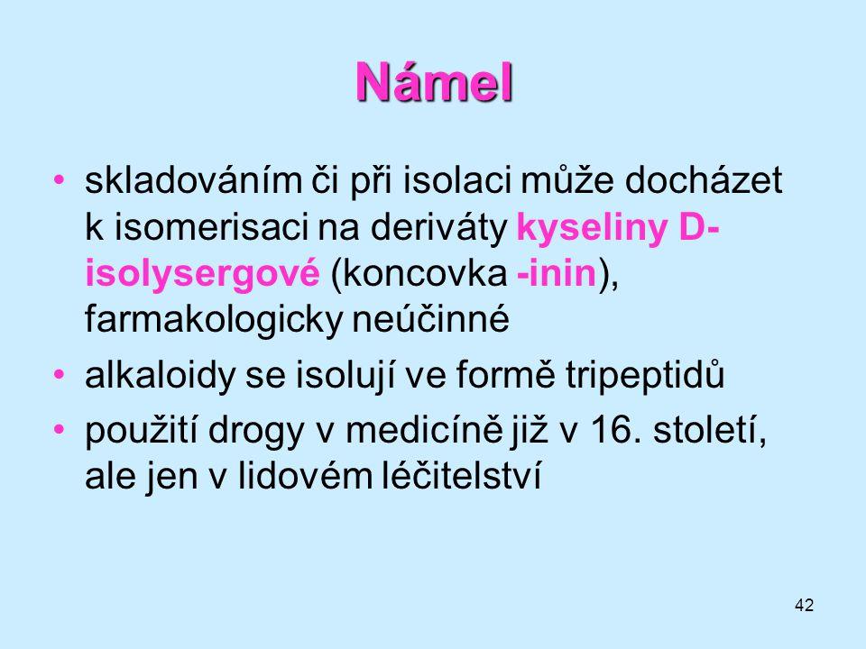 Námel skladováním či při isolaci může docházet k isomerisaci na deriváty kyseliny D-isolysergové (koncovka -inin), farmakologicky neúčinné.