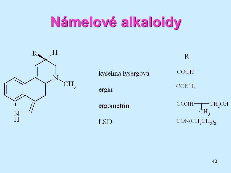 Námelové alkaloidy lysergová kyselina = depresant, není halucinogenní
