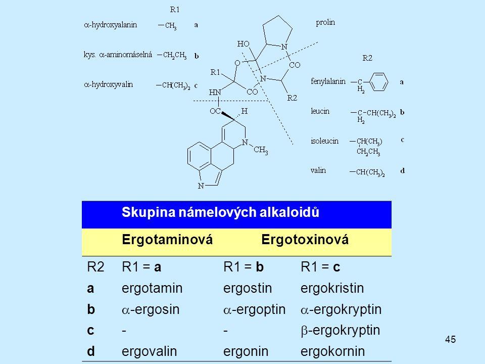 Skupina námelových alkaloidů Ergotaminová Ergotoxinová R2 R1 = a