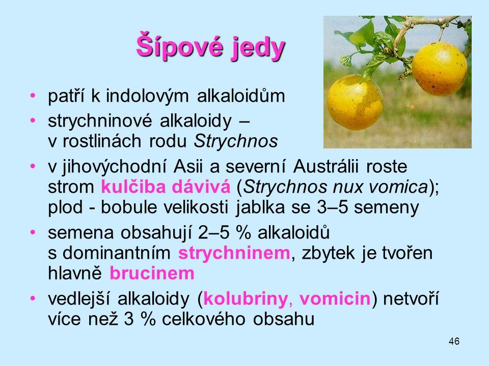 Šípové jedy patří k indolovým alkaloidům