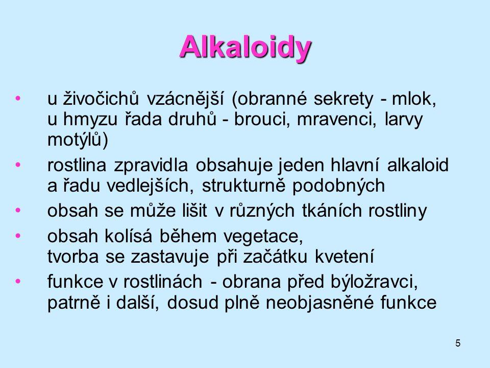 Alkaloidy u živočichů vzácnější (obranné sekrety - mlok, u hmyzu řada druhů - brouci, mravenci, larvy motýlů)