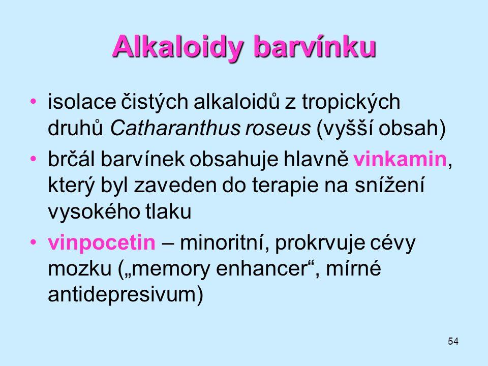 Alkaloidy barvínku isolace čistých alkaloidů z tropických druhů Catharanthus roseus (vyšší obsah)