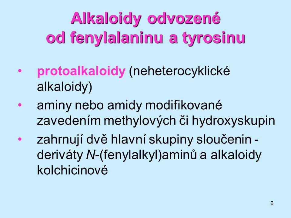 Alkaloidy odvozené od fenylalaninu a tyrosinu