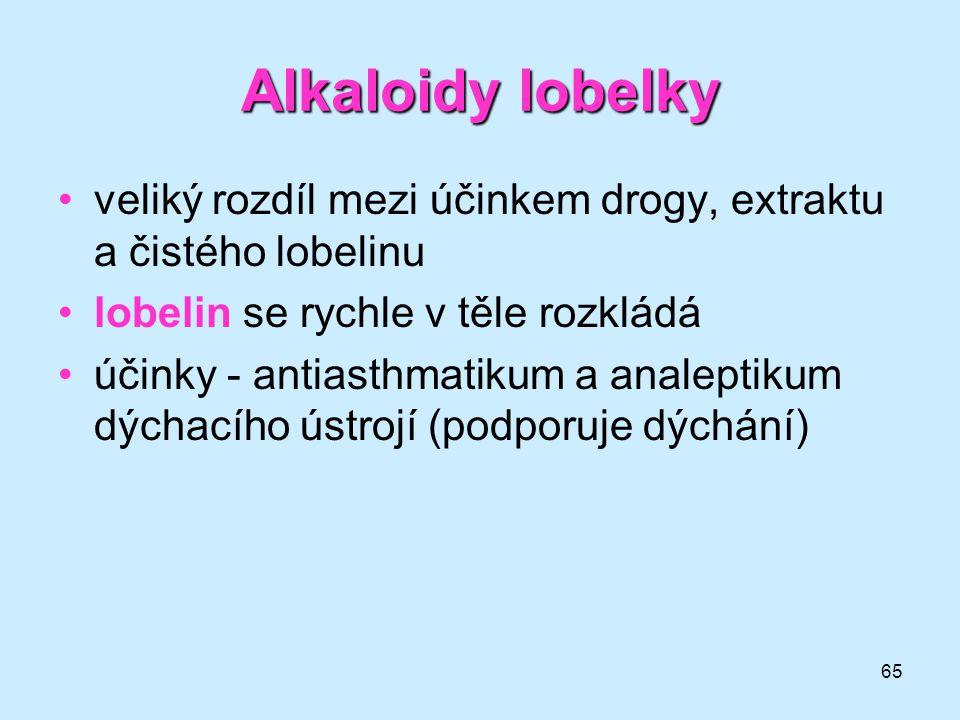 Alkaloidy lobelky veliký rozdíl mezi účinkem drogy, extraktu a čistého lobelinu. lobelin se rychle v těle rozkládá.