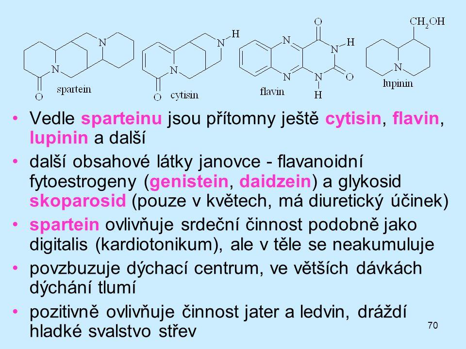 Vedle sparteinu jsou přítomny ještě cytisin, flavin, lupinin a další
